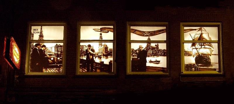 Max Zorn, tape art Amsterdam, de dampkring coffeeshop